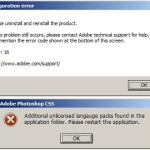 Adobe Collection CS5 – Error 16 – Please uninstall and reinstall the product